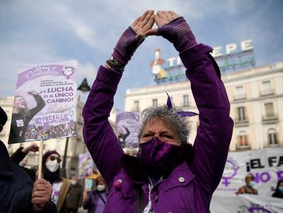 Women protest in Plaza del Sol square in Madrid for International Women's Day.
