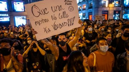 A march in Madrid's Puerta del Sol on Wednesday to demand an end to homophobic violence.