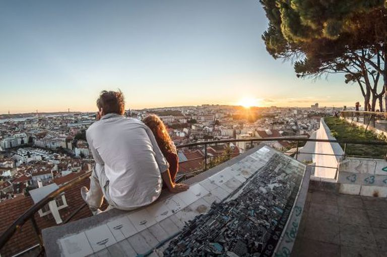 Looking out over Lisbon from the Nossa Senhora do Monte viewpoint.