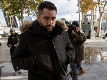 Comedian and TV presenter Dani Mateo on Monday outside a court in Madrid.