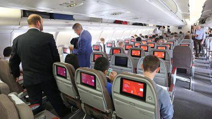 Passengers on an Iberia flight.