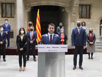Catalonia's acting premier Pere Aragonès speaking on Thursday in Barcelona.
