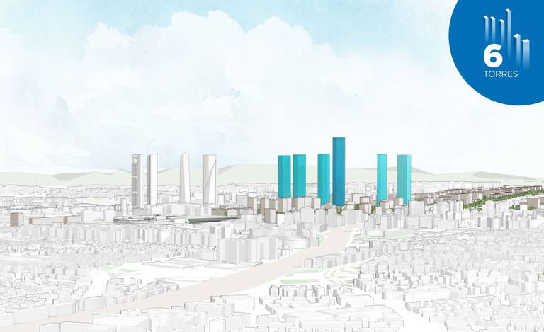 In blue, the six new towers projected by the developer DCN, near the four existing ones.