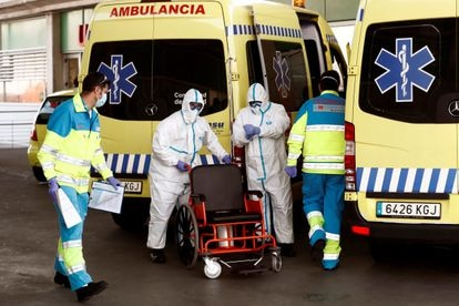 Emergency workers at a hospital in Madrid.