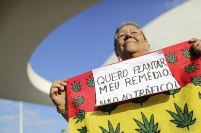 A Brazilian woman marches in support of the legalization of marijuana.