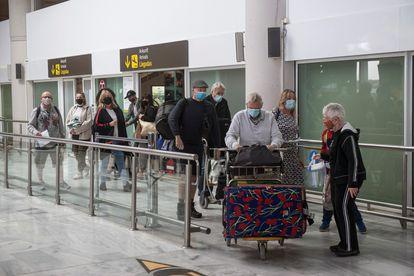 Passengers at César Manrique airport in Lanzarote.