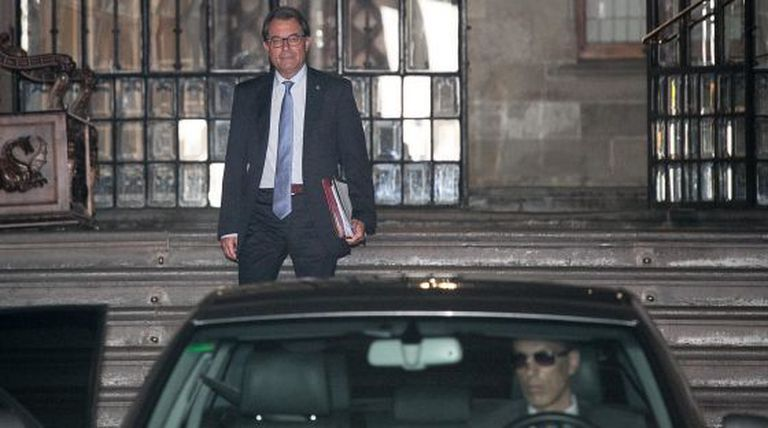 Catalan premier Artur Mas exits the regional seat of government on Tuesday.