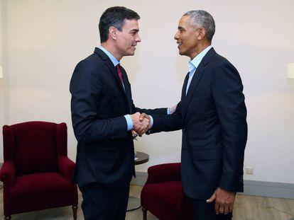 Pedro Sánchez and Barack Obama.