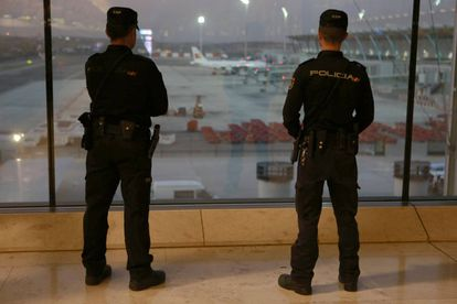 Police officers at Madrid's Adolfo Suárez-Barajas airport.