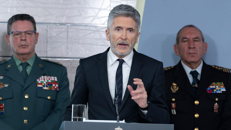 Spanish Interior Minister Fernando Grande-Marlaska during a press conference.