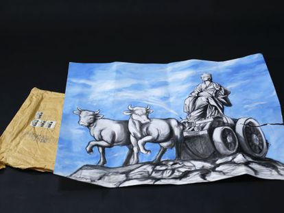The painting 'Cibeles Láctea,' which was mailed to the EL PAÍS newsroom in the envelope also pictured.