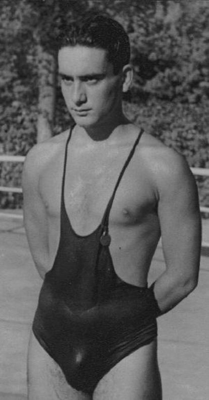 Sporting a swimming costume of the era in 1948, the year he won Olympic bronze in London.