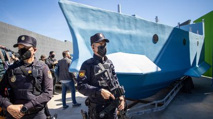 The narco vessel seized by police in Málaga.