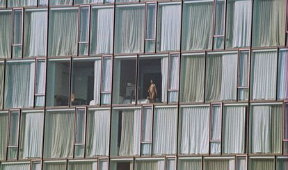 A naked guest at The Standard Hotel in New York.