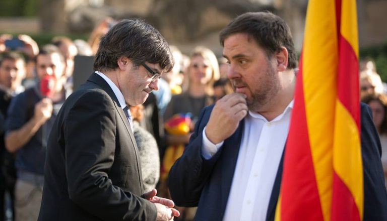 Puigdemont and Junqueras, during a demonstration in Barcelona.