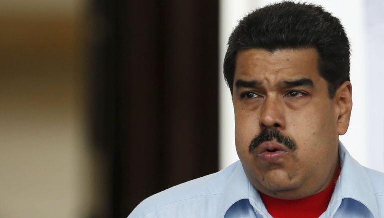 Venezuela's President Maduro at a rally against the opposition's amnesty law in Caracas.