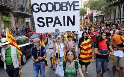 Thousands marched in favor of Catalan independence on the region's national day in September