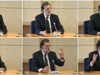 Rajoy during his witness statement in the High Court today.
