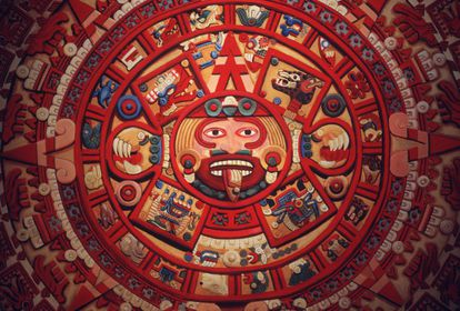 The Aztec calendar.