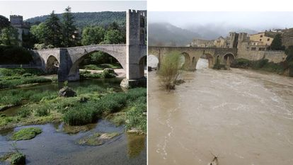(l) The Roman bridge in Besalú in 2015, and on Wednesday.