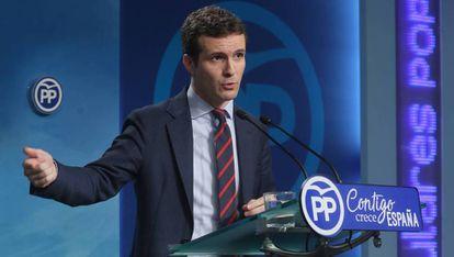 Pablo Casado at a press conference in Madrid.