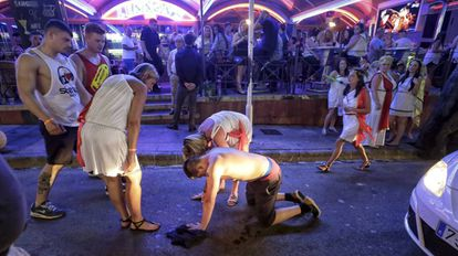 A drunken tourist in the popular party destination Magaluf.