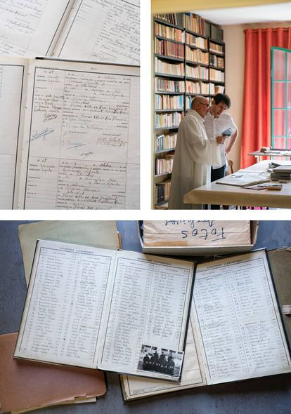 Top left, snapshots of the forged baptism certificates belonging to the Saporta family; top right, Claretian priest, Carlos Tobes and historian Santiago López, look at the only photograph showing the forgers of God together; below, a record of the certificates.