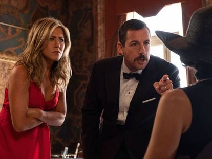 Jennifer Aniston and Adam Sandler in a scene from 'Murder Mystery.' Video: The trailer for the Netflix movie.