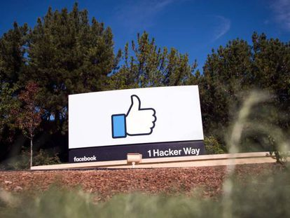 The entrance to the Facebook HQ in California.