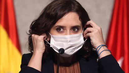 Madrid premier Isabel Díaz Ayuso at a press conference on Friday.