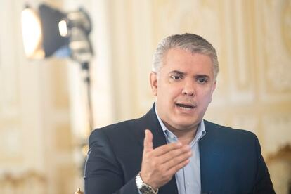 Colombian President Iván Duque, during the interview at Nariño Palace in Bogotá.