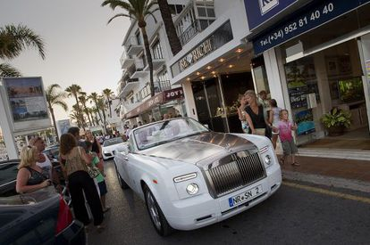 Luxury cars on the streets of Marbella.