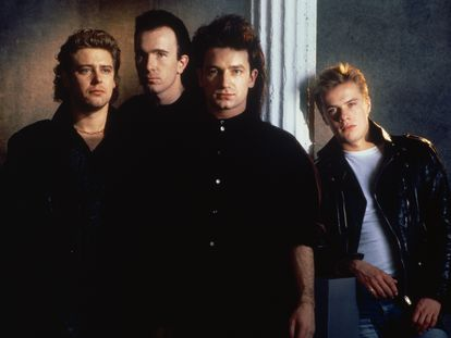 U2 members Adam Clayton, The Edge, Bono and Larry Mullen, Jr, in the early days of their career.