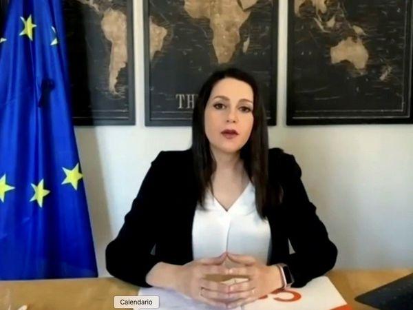 Ciudadanos leader Inés Arrimadas at a video appearance on Sunday.