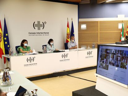 Health Minister Carolina Darias (c) on Wednesday during a meeting of the Inter-Territorial Council of the National Health System (CISNS).