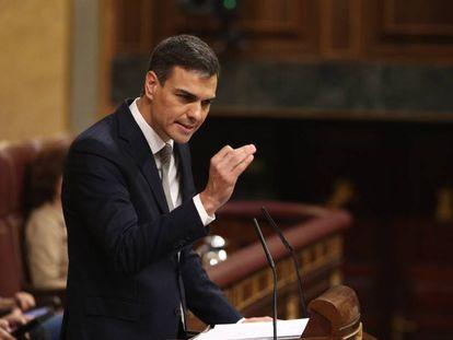 Socialist leader Pedro Sánchez during the debate on Thursday.