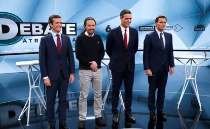 From l-r: Pedro Casado, Pablo Iglesias, Pedro Sánchez and Albert Rivera at an election debate on Tuesday night.
