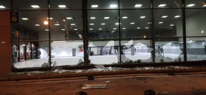 Vandals smashed the windows of the Fira convention center on Saturday.