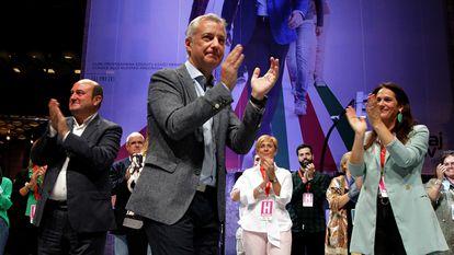 Basque premier Iñigo Urkullu, from the Basque Nationalist Party, celebrates his win on Sunday.
