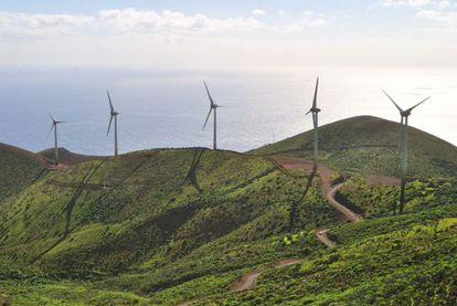 The wind-power plant on the Canary Island of El Hierro.