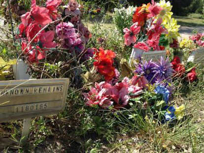 Flowers for the unidentified dead.