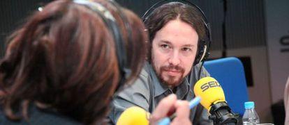 Pablo Iglesias is interviewed on Cadena Ser on Monday.