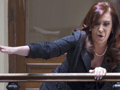Fernández de Kirchner greets supporters last month.