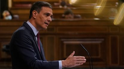 Spanish Prime Minister Pedro Sánchez speaking in parliament on Wednesday.