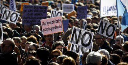 A protest against the abortion reform in Madrid in February.