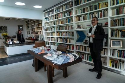 Gonzalo García, the writer's grandson, inside the family library in Mexico City.