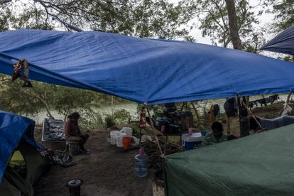 A Mexican family at the Matamoros camp on the banks of the Rio Grande.