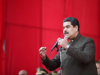 Nicolás Maduro, during a military ceremony in Caracas.