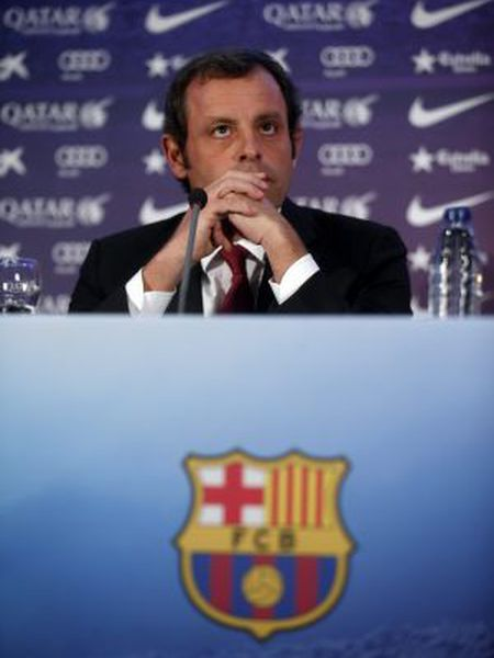 Sandro Rosell during Monday's press conference.