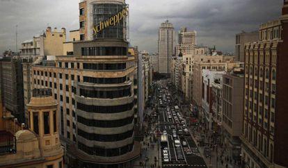 View of the new Gran Vía from Callao.